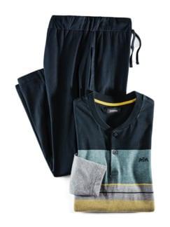 Serafino-Schlafanzug Everyday Marine/Gelb Detail 1