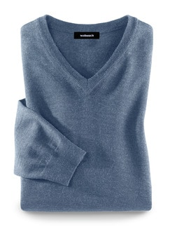 Merino-Mix V-Pullover Jeansblau Detail 1