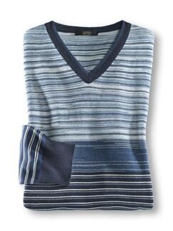 Franceso Morri Streifen-Pullover Blau gestreift Detail 1