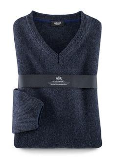 Yashmino V- Pullover Blau Melange Detail 1