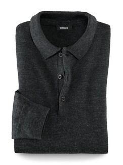 Merino-Mix Polo-Pullover Anthrazit Detail 1