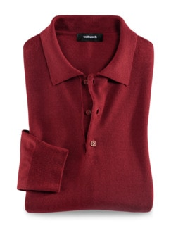 Merino-Mix Polo-Pullover Rot Detail 1