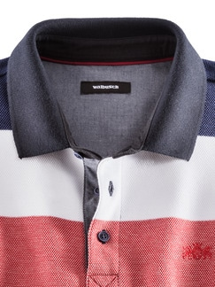 Polo-Pullover Maritim Breit Gestreift Blau Detail 4