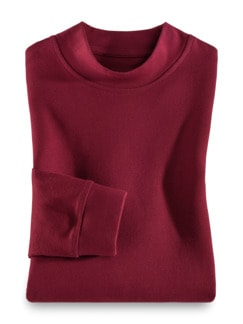 Langarm-Shirt Stehkragen Dunkelrot Detail 1
