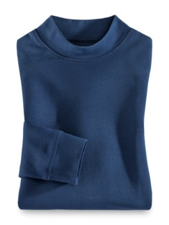 Langarm-Shirt Stehkragen Royalblau Detail 1