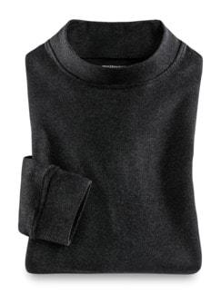 Langarm-Shirt Stehkragen Anthrazit Detail 1