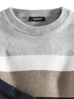 Streifenpullover Cashmere-Mix Marine/Natur/Cr Detail 3