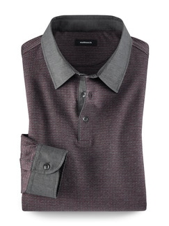 Hemden-Polo Rot/Grau Detail 1