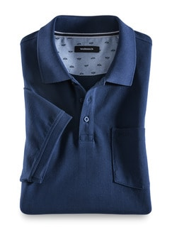 Pique-Polo Pima Cotton Royalblau Detail 1