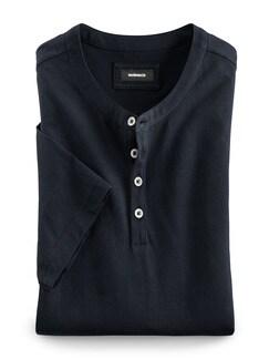 Henley Shirt Kurzarm Marine Detail 1