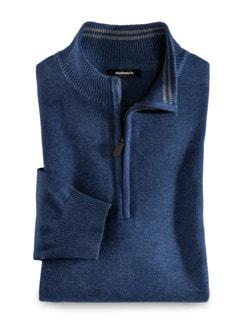 Troyer Soft Cotton Jeansblau Detail 1