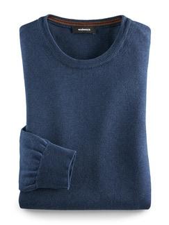 Basicpullover Cotton Melange Blau Detail 1