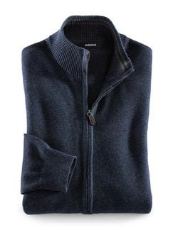 Zip-Jacke Cashmere Touch Blau Detail 1