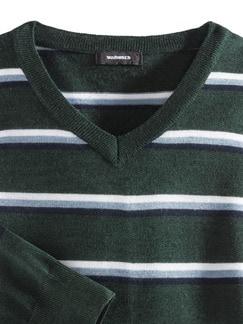 Streifen V-Pullover Merino-Mix Dunkelgrün Detail 3