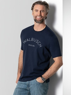 Rundhals Shirt Walbusch Edition Navy Detail 2