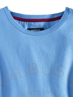 Rundhals Shirt Walbusch Edition Jeansblau Detail 3