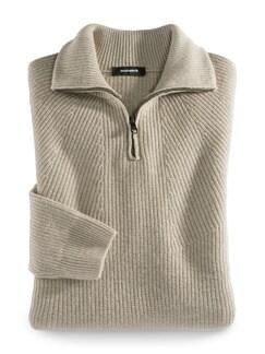 Ripp-Pullover Nahtlos Beige Detail 1