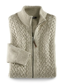 Zopf-Strickjacke Natural Cotton Natur Detail 1