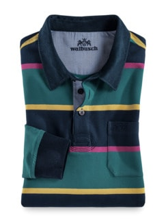 Rugby-Shirt Supersoft Marine/Smaragd Detail 1