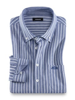 Komfort-Shirt Extraglatt Blau gestreift Detail 1