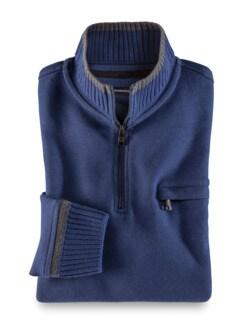 Zip-Shirt Softbund Königsblau Detail 1