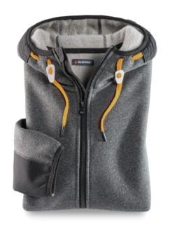 Klepper Woll-Strickfleece-Jacke Grau Detail 1