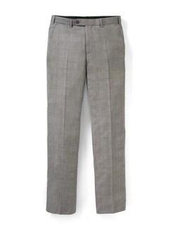 Glencheck Anzug-Hose Super 130 Greige Detail 1