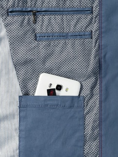 Highstretch-Sakko Pima-Cotton Mittelblau Detail 4