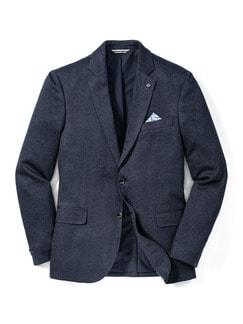 Jersey-Bequem-Sakko Blau Detail 1