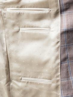 Anzug-Sakko Sommerwolle Sand kariert Detail 4