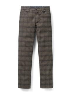 Five-Pocket Soft Flanell Glencheck Beige/Braun Detail 1