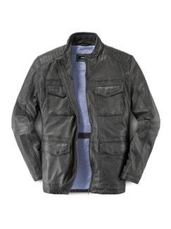 9-Taschen Lederjacke Felsgrau Detail 1