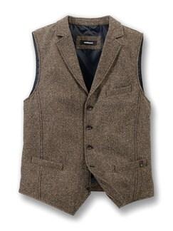 Tweed Weste Tabak Detail 1