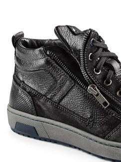 Kalbsleder-Sneaker High Top Schwarz Detail 4