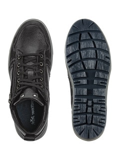 Kalbsleder-Sneaker High Top Schwarz Detail 2