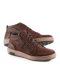 Kalbsleder-Sneaker High Top Cognac Detail 1