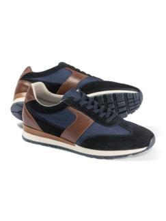 Materialmix-Sneaker Blau Detail 1