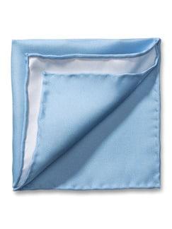 Seideneinstecktuch Uni 2-Farben Hellblau/Weiss Detail 1