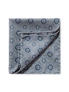 Seidentuch Doubleface Grau/Blau Detail 1
