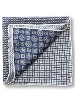 Seideneinstecktuch Mustermix Blau Detail 1