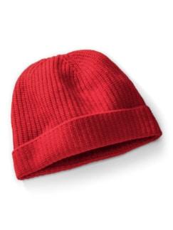 Cashmino Strickmütze Rot Detail 1