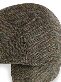 Schiebermütze Harris Tweed Oliv Detail 3