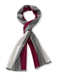 3-Farben-Schal Grau/Bordeaux Detail 1