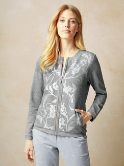 Sweatshirtjacke Grau meliert Detail 1