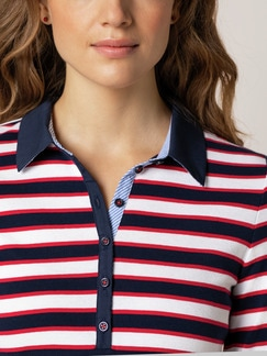 Freizeitpolo Cotton Modal Rot/Marine/Weiß Detail 4