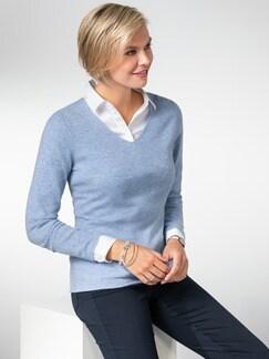 Cashmere Leicht-Pullover Hellblau Melange Detail 1
