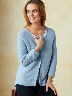 Feinboucle Strickjacke Skyblue Detail 1