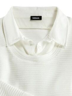 Easycare Sweatshirt Blusenkragen Offwhite Detail 3