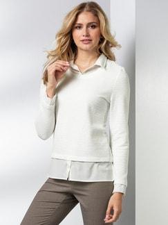 Easycare Sweatshirt Blusenkragen Offwhite Detail 1