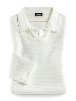 Easycare Sweatshirt Blusenkragen Offwhite Detail 2